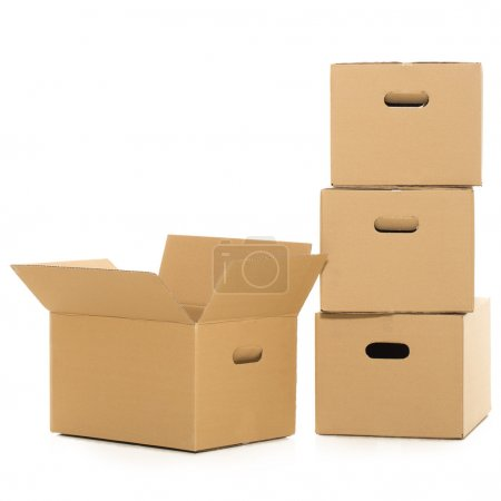Empty and closed boxes on the white background
