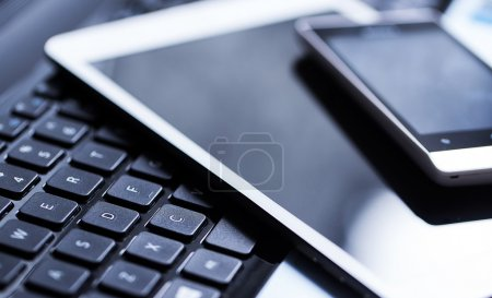 Keyboard with phone and tablet