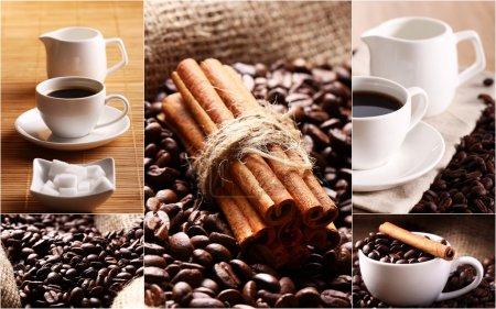Coffee grains, cinnamon and cups