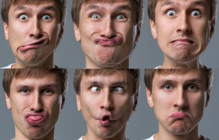 Photo for Man makes lots of crazy face emotions - Royalty Free Image