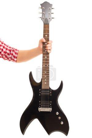 Man holding electro guitar