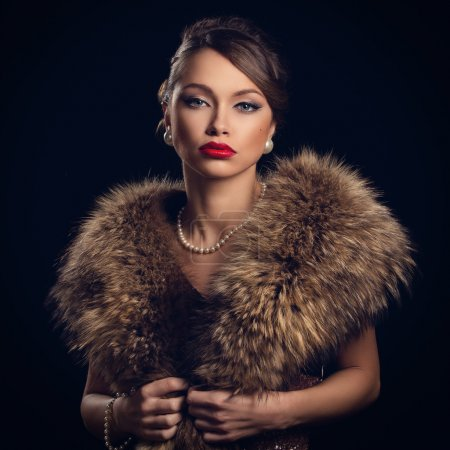 Retro attractive woman wearing fur
