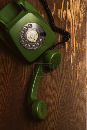 Old, vintage phone on table