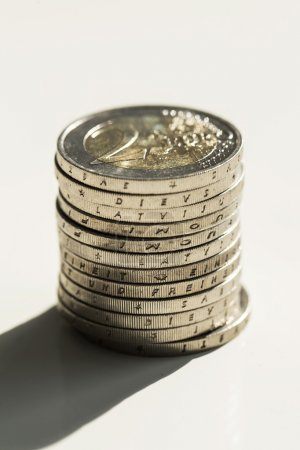 Euro coins on the table