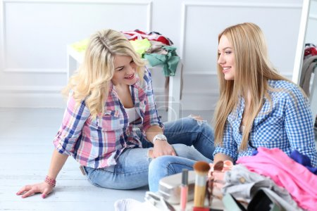 Photo for Friendship. Two best female friends on the floor - Royalty Free Image