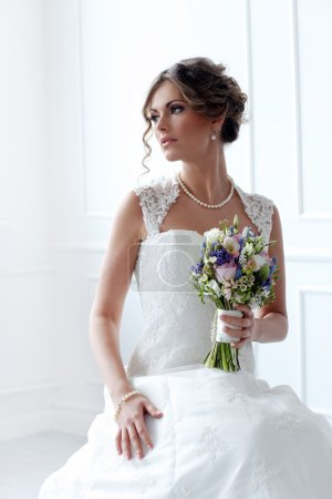 Photo for Wedding. Attractive bride with bouquet - Royalty Free Image