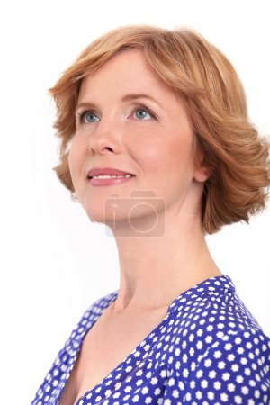 Mature woman in dotted dress