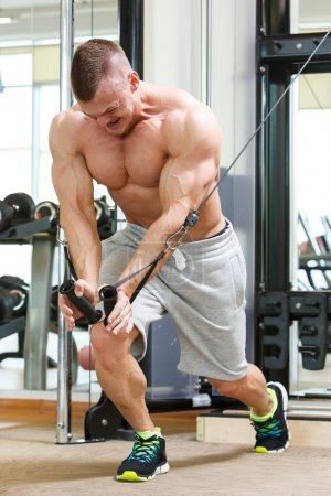 Powerful man during workout