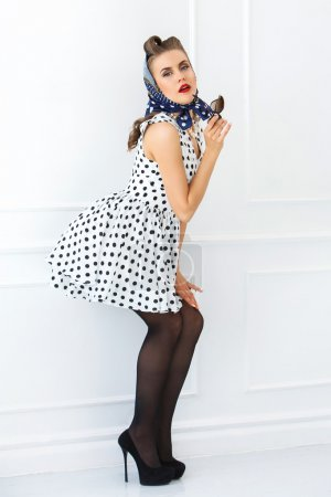 Pin up woman on hight heels