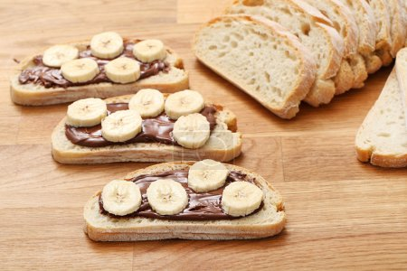 Sweet sandwich with chocolate and banana