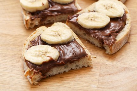Sweet sandwich with chocolate and banana