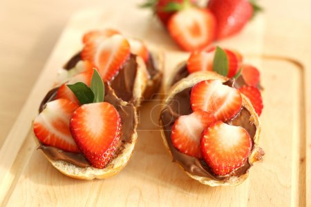 Sandwich with chocolate and strawberries
