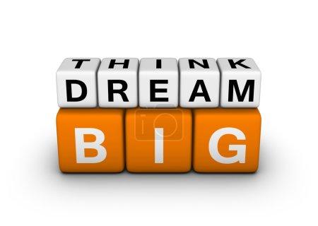 Photo pour Pensez grand symbole plus grand rêve (série de mots-croisés orange-blanc) - image libre de droit