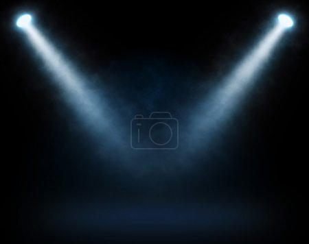 Photo for Blue spotlights on a dark background, abstract - Royalty Free Image