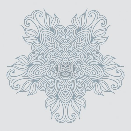 Illustration for Contemporary doily round lace floral pattern card, circle, mandala - Royalty Free Image