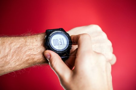 Runner ready to run with sport watch