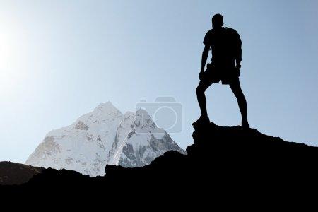 Man hiking silhouette