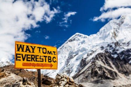 Mount Everest signpost Himalayas