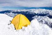 Camping in Caucasus Mountains on Elbrus landscape