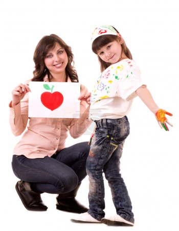 Happy family, young beautiful mother and her little daughter with color painted hands on white background