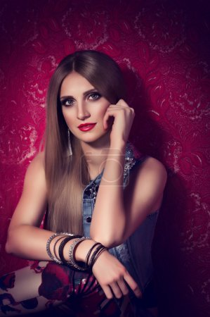 Photo for Portrait of beautiful young woman with makeup and with jewelry precious decorations. - Royalty Free Image