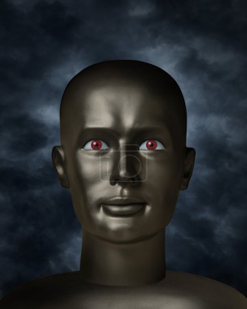 Dark mannequin face with red eyes in the darkness