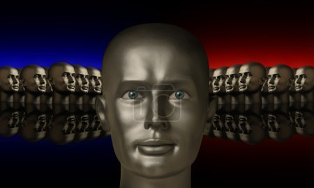 Silver mannequin head flanked by two groups of heads
