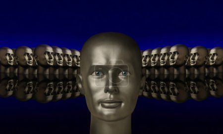 Silver mannequin head flanked by two groups of heads against blu