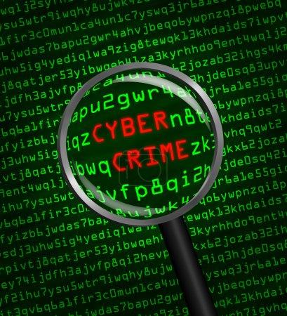 Photo pour Les mots Cyber Crime révélés dans le code machine informatique à travers une loupe - image libre de droit