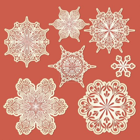 Vector Paper Cut Golden Snowflakes