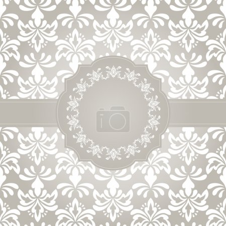 Illustration for Vector frame for yout text on seamless vintage wallpaper pattern on gradient background, fully editable eps 8 file with clipping mask and pattern in swatch menu - Royalty Free Image