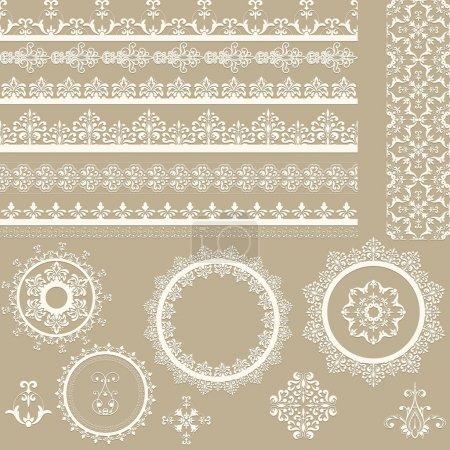 Illustration pour Rubans, serviettes et éléments de design vintage en dentelle vectorielle, brosses sans couture en dentelle incluses, ombres à la couche séparée, fichier eps 8 entièrement modifiable - image libre de droit
