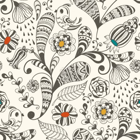 Illustration for Vector spring seamless wallpaper spring floral pattern with birds, hand drawn doodle style, fully editable eps 8 file with clipping mask and pattern in swatch menu - Royalty Free Image