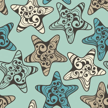 Vector Seamless Pattern with Highly Detailed Stars