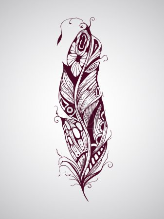 Hand drawn tattoo feather