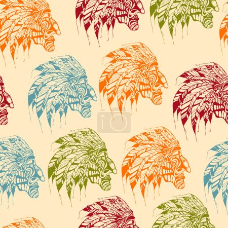 Vector Seamless Pattern with Bright American Indians