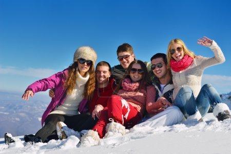 Friends on fresh snow