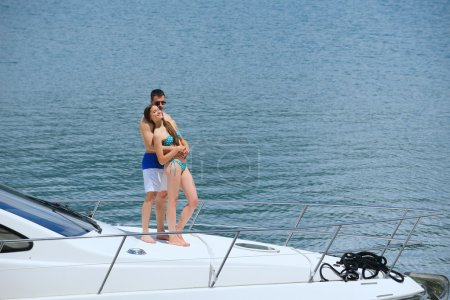 Young couple at yacht