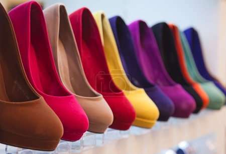 Photo for Variety of the colorful leather shoes in the shop - Royalty Free Image
