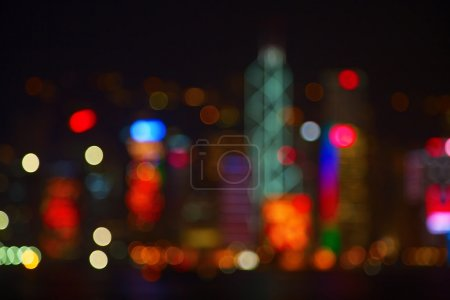 Photo for Night lights of the Hong Kong city - Royalty Free Image