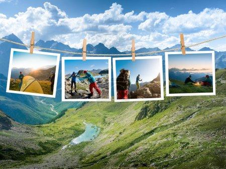 Photo pour Couple de randonnée dans la montagne - image libre de droit