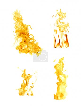 orange flames isolated on white