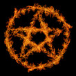 Orange flame pentagram isolated on black backgroun...