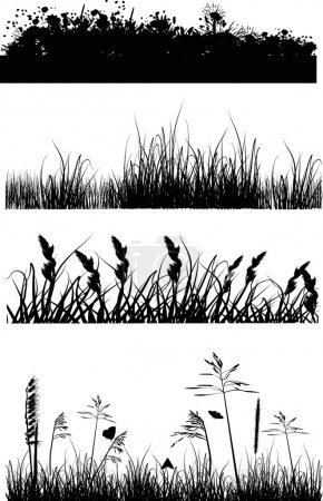 four strips with grass silhouettes