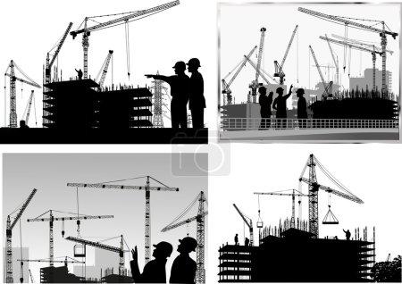 Illustration pour Illustration avec quatre collections de compositions industrielles - image libre de droit