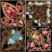 čtyři čtvercové dekorace květina