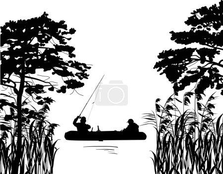 fishermen in boat silhouette between trees