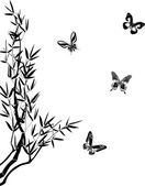bamboo and four butterflies silhouettes