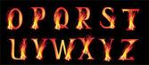fire letters on black illustration