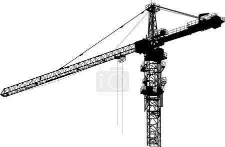 Isolated black tower crane